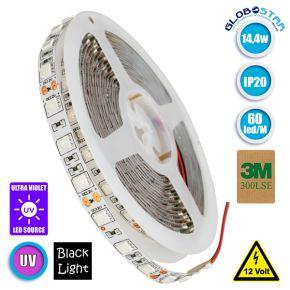 Ταινία LED 5050 SMD 5m 14.4W/m 60LED/m 600 lm/m 120° DC 12V IP20 Υπερύθρων UV Ultraviolet GloboStar 70028