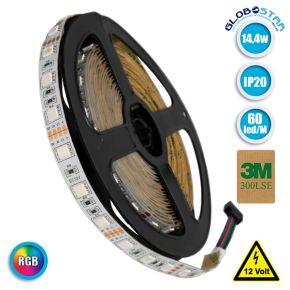 Ταινία LED 5050 SMD 5m 14.4W/m 60LED/m 600 lm/m 120° DC 12V IP20 RGB GloboStar 70029