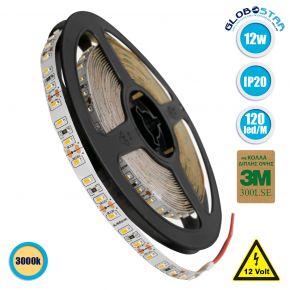 GloboStar® 70052 Ταινία LED SMD 3014 5m 12W/m 120LED/m 1680 lm/m 120° DC 12V IP20 Θερμό Λευκό 3000K - 5 Χρόνια Εγγύηση