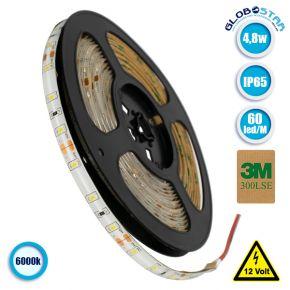 Ταινία LED 2835 SMD 5m 4.8W/m 60LED/m 390 lm/m 120° DC 12V IP65 Ψυχρό Λευκό 6000k GloboStar 70100