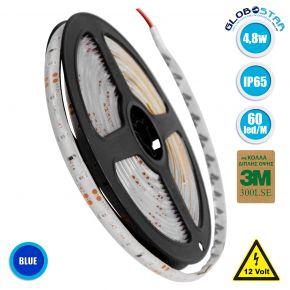 GloboStar® 70106 Ταινία LED SMD 3528 5m 4.8W/m 60LED/m 412 lm/m 120° DC 12V Αδιάβροχη IP65 Μπλε - 5 Χρόνια Εγγύηση