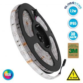 GloboStar® 70119 Ταινία LED SMD 5050 5m 7.2W/m 30LED/m 727 lm/m 120° DC 12V Αδιάβροχη IP65 RGB - 5 Χρόνια Εγγύηση