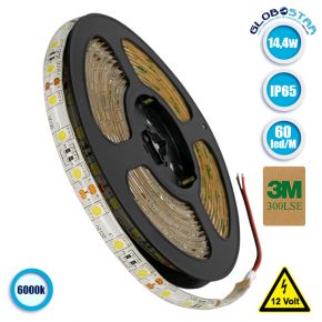 Ταινία LED 5050 SMD 5m 14.4W/m 60LED/m 1380 lm/m 120° DC 12V Αδιάβροχη IP65 Ψυχρό Λευκό 6000k GloboStar 70120