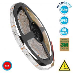 GloboStar® 70124 Ταινία LED SMD 5050 5m 14.4W/m 60LED/m 1454 lm/m 120° DC 12V Αδιάβροχη IP65 Κόκκινο - 5 Χρόνια Εγγύηση