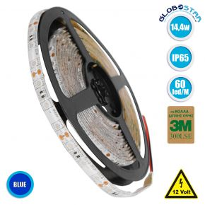 GloboStar® 70126 Ταινία LED SMD 5050 5m 14.4W/m 60LED/m 1454 lm/m 120° DC 12V Αδιάβροχη IP65 Μπλε - 5 Χρόνια Εγγύηση
