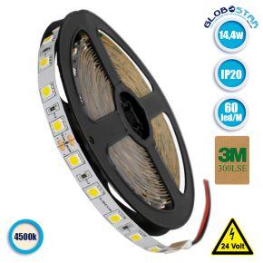 Ταινία LED 5050 SMD 5m 14.4W/m 60LED/m 1688 lm/m 120° DC 24V IP20 Φυσικό Λευκό 4500k GloboStar 70221