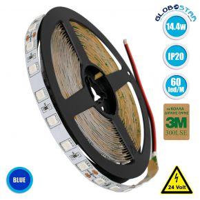 GloboStar® 70226 Ταινία LED SMD 5050 5m 14.4W/m 60LED/m 800 lm/m 120° DC 24V IP20 Μπλε