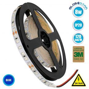 GloboStar® 70236 Ταινία LED SMD 2835 5m 8W/m 120LED/m 960 lm/m 120° DC 24V IP20 Μπλε