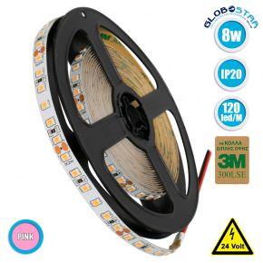 GloboStar® 70237 Ταινία LED SMD 2835 5m 8W/m 120LED/m 960 lm/m 120° DC 24V IP20 Ροζ