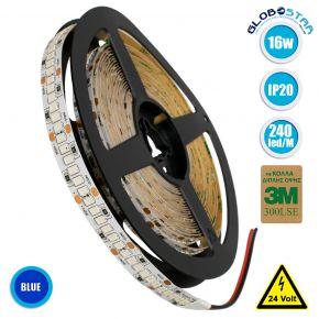 GloboStar® 70246 Ταινία LED SMD 2835 5m 16W/m 240LED/m 1920 lm/m 120° DC 24V IP20 Μπλε