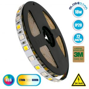 GloboStar® 70266 Ταινία LED SMD 5050 RGBW + WW 5in1 5m 18W/m 72LED/m 120° DC 24V IP20 1150lm/m Ψυχρό Λευκό 6000k & 1050lm/m Θερμό Λευκό 3000k & 900lm/m RGB