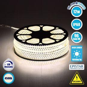 GloboStar® 70501 Slim Ταινία Μονής Σειράς LED SMD 2835 1m 12W/m 96LED/m 1644 lm/m 120° DC 230V Αδιάβροχη IP68 Φυσικό Λευκό 4500k