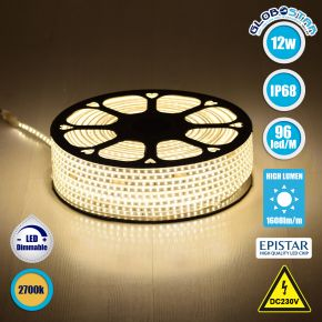 GloboStar® 70502 Slim Ταινία Μονής Σειράς LED SMD 2835 1m 12W/m 96LED/m 1608 lm/m 120° DC 230V Αδιάβροχη IP68 Θερμό Λευκό 3000k