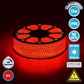 GloboStar® 70504 Slim Ταινία Μονής Σειράς LED SMD 2835 1m 12W/m 96LED/m 1572 lm/m 120° DC 230V Αδιάβροχη IP68 Κόκκινο