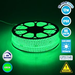 GloboStar® 70505 Slim Ταινία Μονής Σειράς LED SMD 2835 1m 12W/m 96LED/m 1572 lm/m 120° DC 230V Αδιάβροχη IP68 Πράσινο
