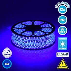 GloboStar® 70506 Slim Ταινία Μονής Σειράς LED SMD 2835 1m 12W/m 96LED/m 1572 lm/m 120° DC 230V Αδιάβροχη IP68 Μπλε