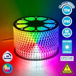 GloboStar® 70507 Slim Ταινία Μονής Σειράς LED SMD 5050 1m 12W/m 60LED/m 1572 lm/m 120° DC 230V Αδιάβροχη IP68 RGB