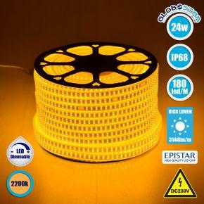 GloboStar® 70513 Wide Ταινία Διπλής Σειράς LED SMD 2835 1m 24W/m 180LED/m 3144 lm/m 120° DC 230V Αδιάβροχη IP68 Ultra Θερμό Λευκό 2200k