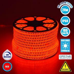 GloboStar® 70514 Wide Ταινία Διπλής Σειράς LED SMD 2835 1m 24W/m 180LED/m 3144 lm/m 120° DC 230V Αδιάβροχη IP68 Κόκκινο