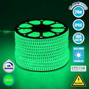 GloboStar® 70515 Wide Ταινία Διπλής Σειράς LED SMD 2835 1m 24W/m 180LED/m 3144 lm/m 120° DC 230V Αδιάβροχη IP68 Πράσινο