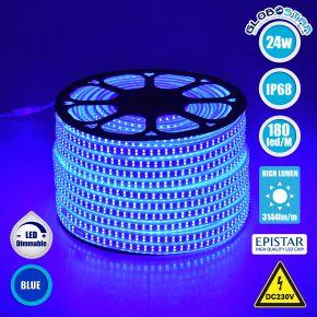 GloboStar® 70516 Wide Ταινία Διπλής Σειράς LED SMD 2835 1m 24W/m 180LED/m 3144 lm/m 120° DC 230V Αδιάβροχη IP68 Μπλε
