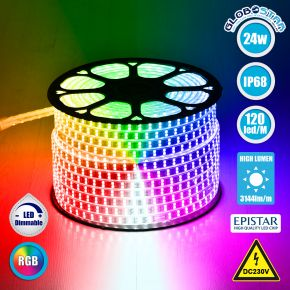 GloboStar® 70517 Wide Ταινία Διπλής Σειράς LED SMD 5050 1m 24W/m 120LED/m 3144 lm/m 120° DC 230V Αδιάβροχη IP68 RGB