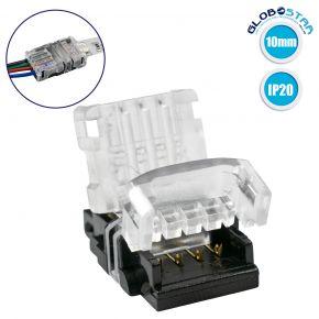 GloboStar® 70722 Ταχυσύνδεσμος Ένωσης IP20 - Strip To Cable Connector για Ένωση 1 x RGB Ταινίας LED Πλάτους 10mm με 1 x Καλώδιο Τροφοδοσίας