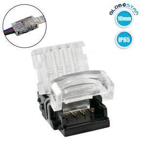 GloboStar® 70724 Αδιάβροχος Ταχυσύνδεσμος Ένωσης IP65 - Strip To Cable Connector για Ένωση 1 x RGB Αδιάβροχης Ταινίας LED Πλάτους 10mm με 1 x Καλώδιο Τροφοδοσίας