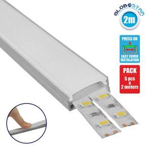GloboStar® 70809-2M Επιφανειακό Προφίλ Αλουμινίου Ανοδιωμένο με Λευκό Οπάλ Κάλυμμα για 2 Σειρές Ταινίας LED Πατητό - Press On Πακέτο 5 Τεμάχια των 2 Μέτρων