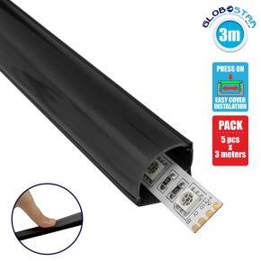 GloboStar® 70816-3M Γωνιακό Προφίλ Αλουμινίου Μαύρο με Μαύρο Οπάλ Κάλυμμα για 1 Σειρά Ταινίας LED Πατητό - Press On Πακέτο 5 Τεμάχια των 3 Μέτρων
