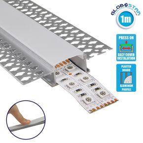 GloboStar® 70819-1M Χωνευτό για Γυψοσανίδα - Trimless Προφίλ Αλουμινίου Ανοδιωμένο με Λευκό Οπάλ Κάλυμμα για 2 Σειρές Ταινίας LED Πατητό - Press On