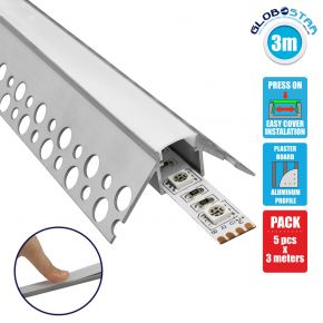 GloboStar® 70821-3M Χωνευτό Γωνιακό για Γυψοσανίδα - Trimless Προφίλ Αλουμινίου Ανοδιωμένο με Λευκό Οπάλ Κάλυμμα για 1 Σειρά Ταινίας LED Πατητό - Press On Πακέτο 5 Τεμάχια των 3 Μέτρων