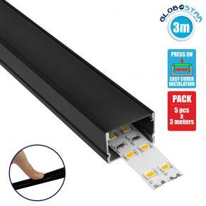 GloboStar® 70825-3M Επιφανειακό Προφίλ Αλουμινίου Μαύρο με Μαύρο Οπάλ Κάλυμμα για 2 Σειρές Ταινίας LED Πατητό - Press On Πακέτο 5 Τεμάχια των 3 Μέτρων