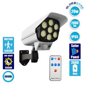 GloboStar® 71507 Αυτόνομο Ηλιακό Φωτιστικό Σχήμα Κάμερας LED SMD 20W 2000 lm με Ενσωματωμένη Μπαταρία 2600mAh - Φωτοβολταϊκό Πάνελ με Αισθητήρα Ημέρας-Νύχτας και PIR Αισθητήρα Κίνησης IP65 Ψυχρό Λευκό 6000k