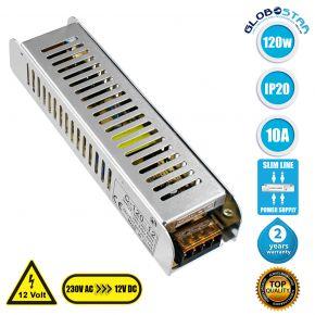 GloboStar® 73002 Τροφοδοτικό LED Ultra Slim 120W DC 12V 10A IP20 Μ18.7 x Π4.7 x Υ3.5cm