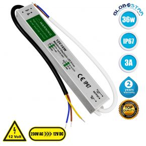 GloboStar® 73051 Τροφοδοτικό LED DC 12V 36W Αδιάβροχο IP67 Max 36W 3A