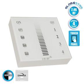 Ασύρματο LED Χειριστήριο Αφής και Τοίχου 2.4G RF Έως και 4 Διαφορετικά Groups DC GloboStar 73319