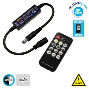 GloboStar® 73322 Ασύρματο LED Dimmer με Χειριστήριο RF 2.4Ghz DC 12-24V Max 144w