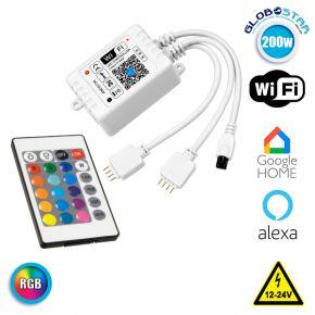 GloboStar® 73411 Ασύρματος WiFi LED RGB Controller Smart Home με 2 Εξόδους και Χειριστήριο IR RGB 12v (100w) - 24v (200w) DC
