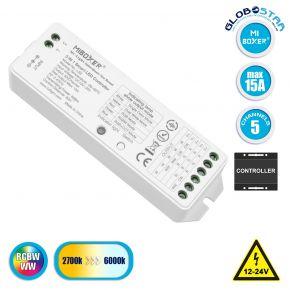 GloboStar® 73422 Ασύρματος RF 2.4Ghz LED RGBW + WW Smart Controller Mi-Light LS2 MiBOXER RF 2.4G DC 12-24V Max 360W