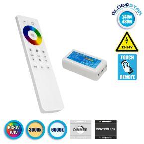 GloboStar® 73424 Ασύρματος LED RGBW-WW Controller με Χειριστήριο Αφής 2.4G 12v (240w) - 24v (480w)