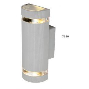 SL LED Απλίκα Τοίχου GU10 Ημικυκλικό IP54 Silver Double