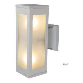 SL LED Απλίκα Τοίχου E27 Παραλληλόγραμμο Ράγες IP44 Silver Διπλή
