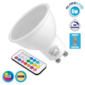 GloboStar® 76067 Λάμπα LED Σποτ GU10 6W 230V 400lm 180° με Ασύρματο Χειριστήριο RGB & Θερμό Λευκό 3000k