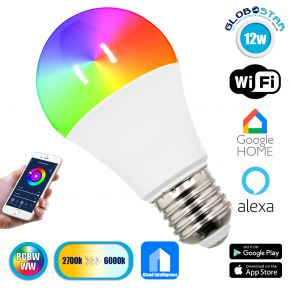 GloboStar® 76070 Λάμπα E27 A60 Γλόμπος Smart Home WiFi LED RGB+CCT 12W 960 lm 260° AC 85-265V Πολύχρωμη RGBW+WW Ψυχρό Λευκό 6000K + Φυσικό Λευκό 4500K + Θερμό Λευκό 3000K Dimmable