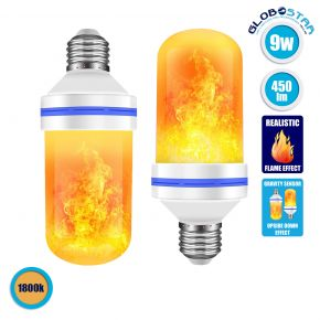GloboStar® 76075 Λάμπα E27 TUBULAR Διακοσμητική LED 9W 450lm 320° AC 85-265V με 4 Λειτουργίες Εφέ Φλόγας και Αναστροφή Φλόγας Θερμό Λευκό 1800K