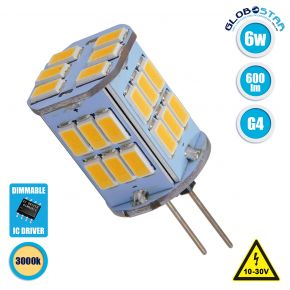 GloboStar® 76136 Λάμπα G4 LED SMD 5630 6W 600lm 320° DC 12-24V Θερμό Λευκό 3000K Dimmable