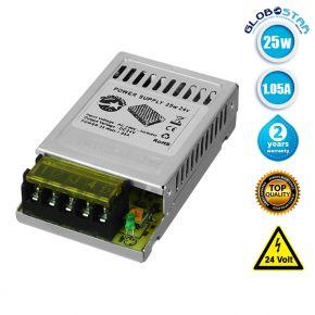 LED Ρυθμιζόμενο Τροφοδοτικό DC Switching 25W 24V 1.05 Ampere IP20 GloboStar 77461