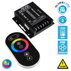 GloboStar® 73410 Ασύρματος LED RGB Controller με Χειριστήριο Αφής 2.4G RF SYNC 12V (288w) - 24V (576w) DC