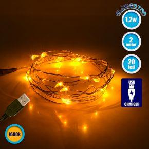 GloboStar® 79710 Διακοσμητική Γιρλάντα 2 Μέτρων 20 LED USB 5 Volt 1.2 Watt με Χάλκινο Συρμάτινο Καλώδιο Θερμό Λευκό 1600k